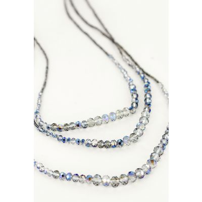 Multi-Strand Beaded Necklace in Denim