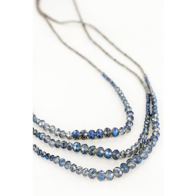 Multi-Strand Beaded Necklace in Navy