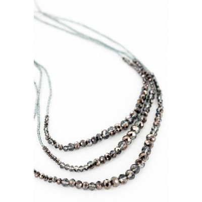 Multi-Strand Beaded Necklace in Smoke