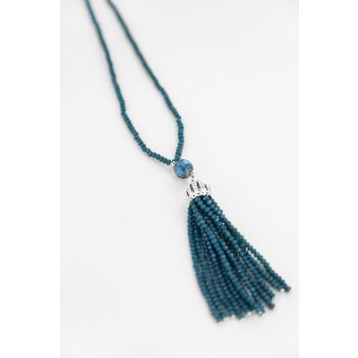Crystal Tassel Necklace in Teal