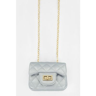 Mini Quilted Purse in Silver