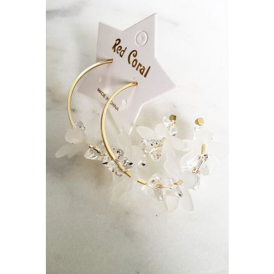 Floral Crystals Hoop Earring in White-R