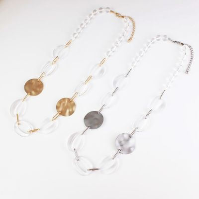 Clear Ice & Matte Metallic Necklace