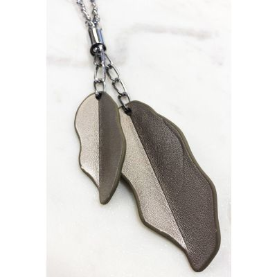 Leatherette Leaves Chain Necklace
